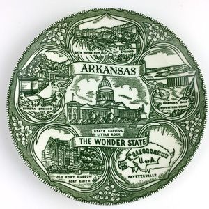 Vintage Arkansas The Wonder State Souvenir Plate